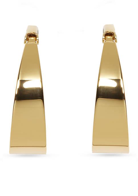 Silver-Tone Metal Core Tapered Hoop Earrings