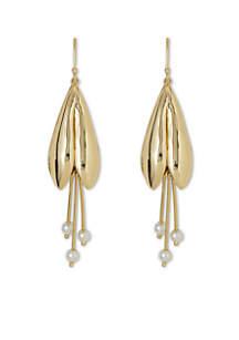 Gold-Tone Tulip Drop Earrings