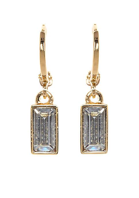 Vince Camuto Gold-Tone Museum Huggie Drop Earrings