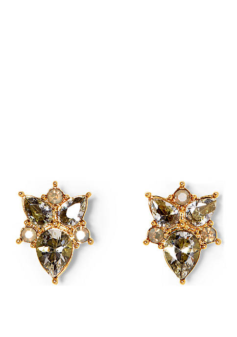 Gold-tone Button Cluster Earrings