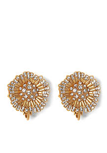 Danish Garden Vintage Gold-Tone Flower Clip Earrings