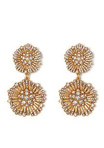 Danish Garden Vintage Gold-Tone Flower Double Drop Earrings
