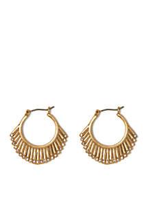Danish Garden Vintage Gold-Tone Sunburst Hoop Earrings