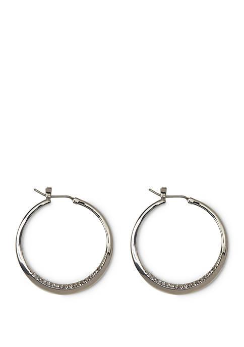 Silver Tone Inset Pave Crystal Hinge Hoop Earrings