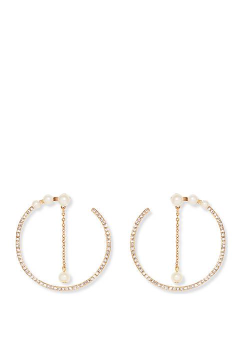 Large Pearl Wraparound Hoop Earrings