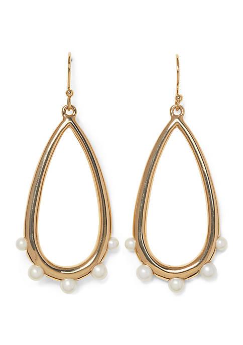 Clean Pearl and Metal Teardrop Pearl Earrings