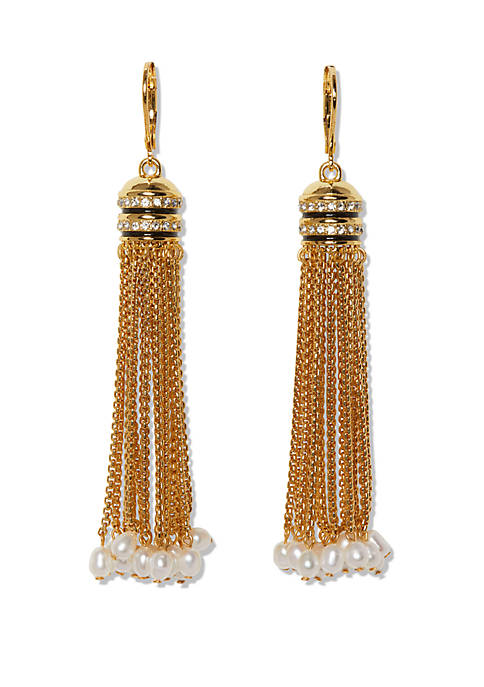 Gold Tone Jet Black Resin with Crystal and Freshwater Pearl Tassel Fringe Earrings