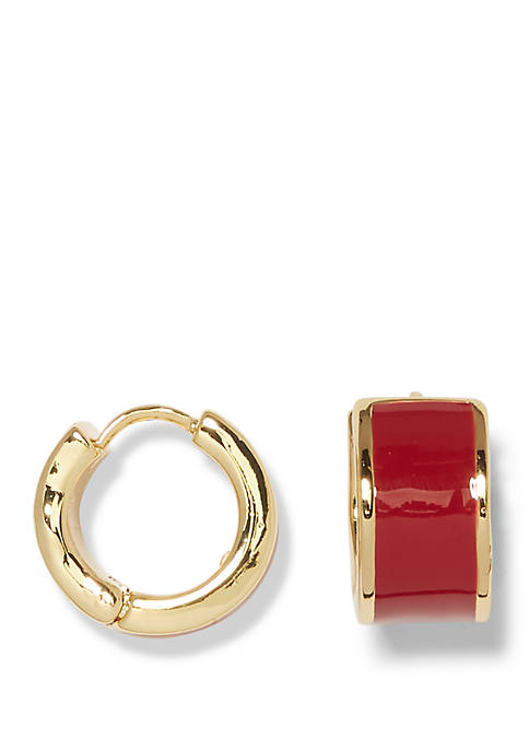 Gold Tone Wine Enamel Huggie Earrings