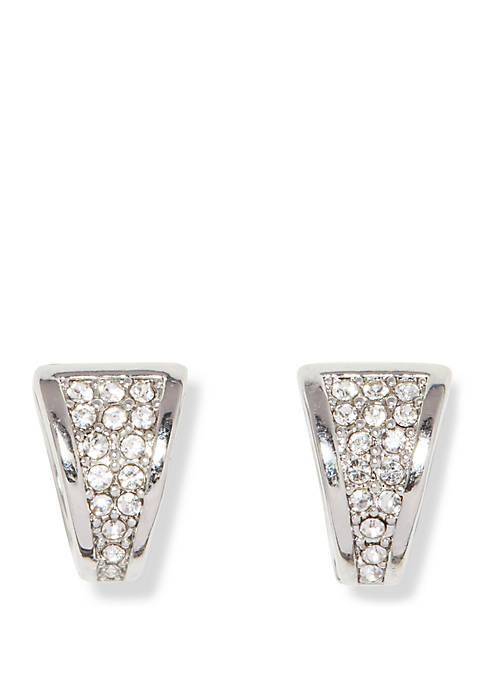 Silver-Tone Mini Pave V Huggie Hoop Earrings