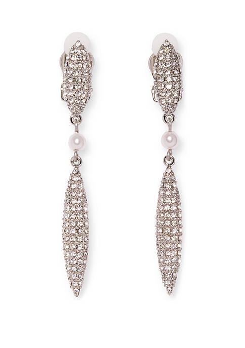 Pave Double Drop Clip Earrings
