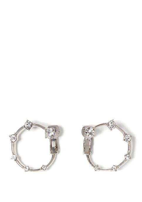 Wraparound Stone Clip Hoop Earrings