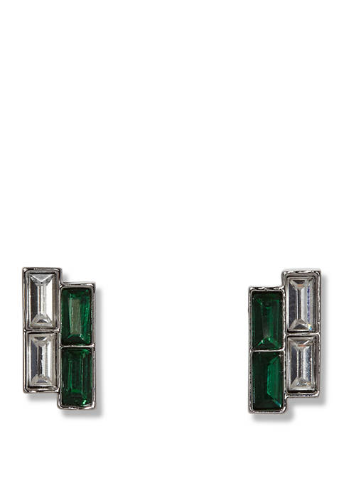 Vince Camuto Silver Tone Clear and Emerald Crystal