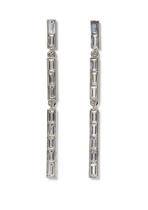 Vince Camuto Silver Tone Cubic Zirconia Crystal Baguette