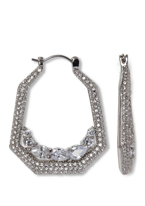 Silver Tone Clear Crystal and Pave Hoop Earrings