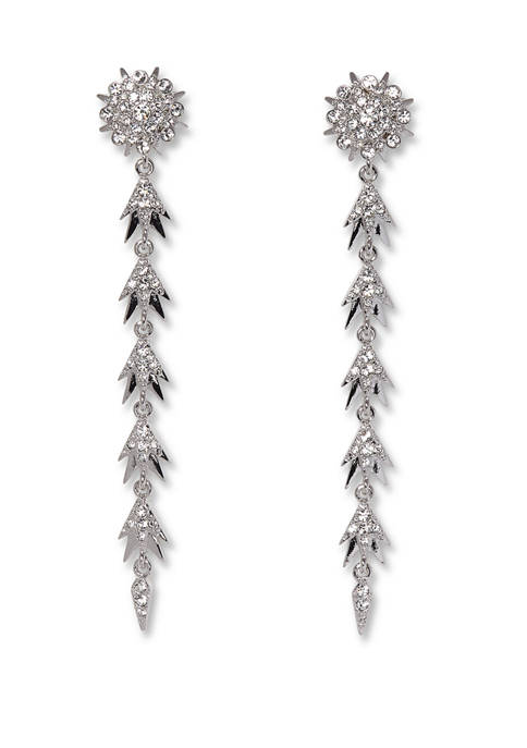 Silver Tone and Crystal Pave Starburst Linear Earrings