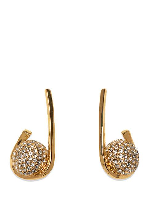Silver Tone Pave Crystal Fireball Hoop Earrings
