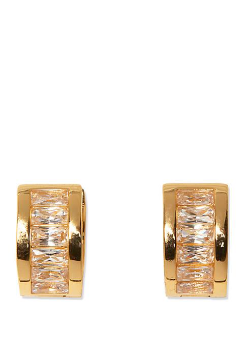Silver Tone Crystal Baguette Huggie Earrings