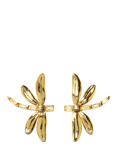 Novelty Dragonfly Stud Earrings with Crystal Accents