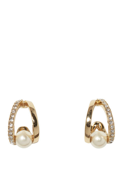 Wedged Pearl Huggie Earrings