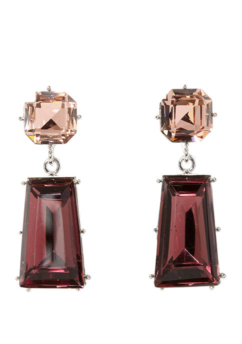 Vince Camuto Silver Tone Double Drop Earrings with