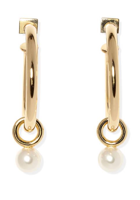 Gold Tone Tubular Hoop with Pearl Drop Earrings
