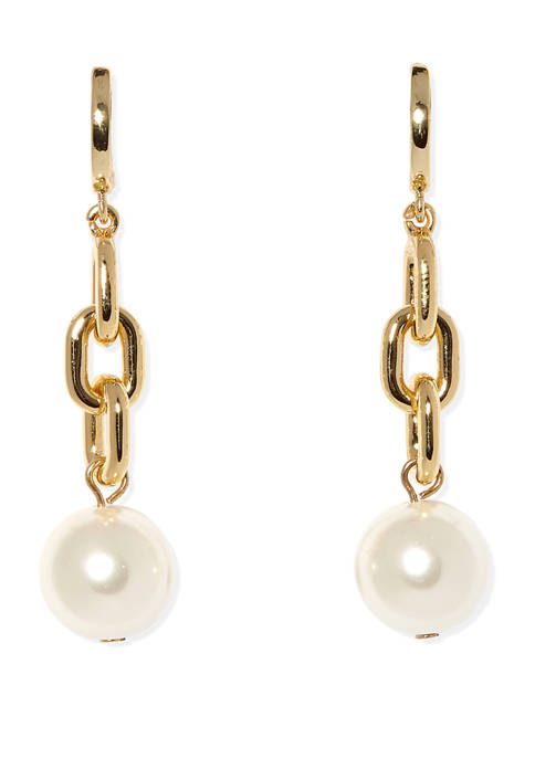 Gold Tone Linear Links and Faux Pearl Earrings