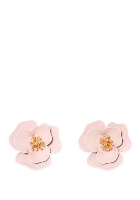 Vince Camuto Powder Coated Pink Flower Clip Back