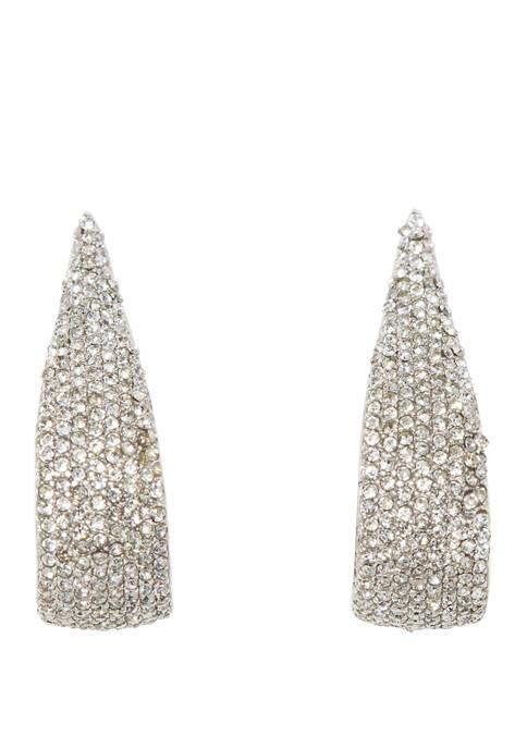 Pave Small J Hoop Earrings
