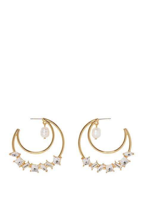 Decorated Statement Hoop Earrings