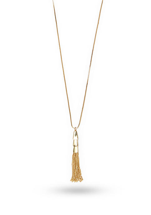 Vince Camuto Gold-Tone Metal Core Long Tassel Necklace
