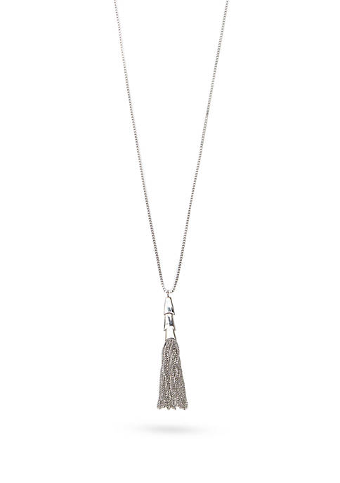 Silver-Tone Metal Core Long Tassel Necklace