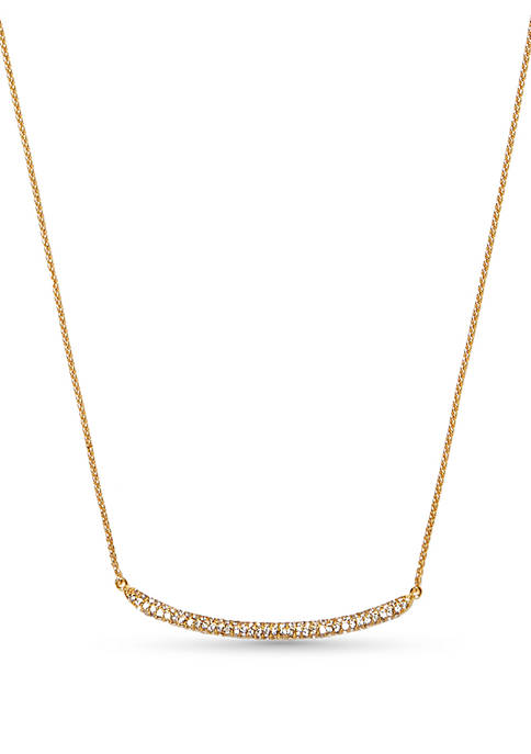 Gold-Tone Pave Core Curved Clear Crystal Pave Bar Necklace
