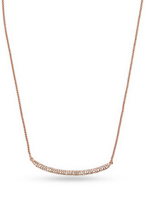 Rose Gold-Tone Pave Core Curved Clear Crystal Pave Bar Necklace