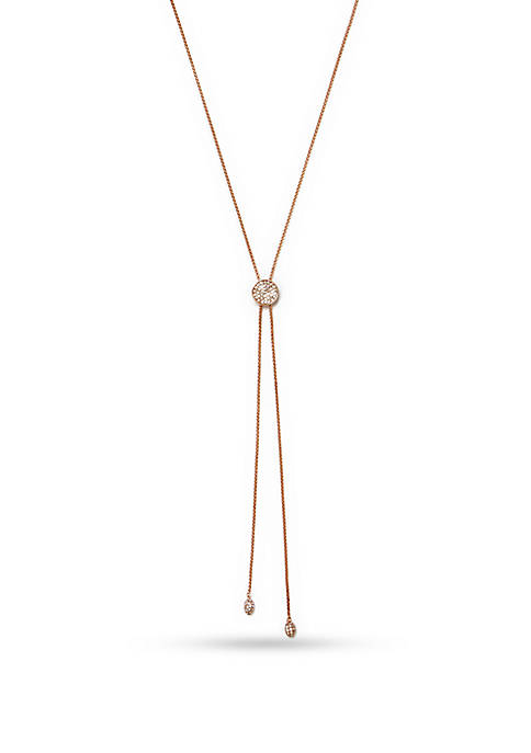 Vince Camuto Rose Gold-Tone Pave Core Slider Necklace