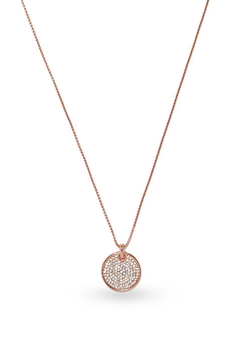 Vince Camuto Rose Gold-Tone Pave Core 18-In. Pendant