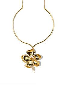 Gold-Tone Statement Flower Pendant Necklace