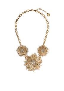 Danish Garden Vintage Gold-Tone Crystal Drama Necklace