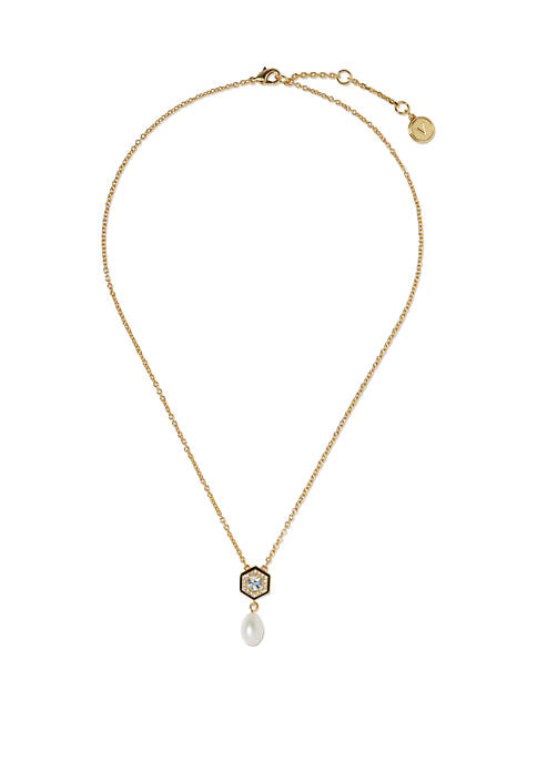 Gold Tone Jet Black Resin with Crystals and Freshwater Pearl 18 Inch Pendant Necklace