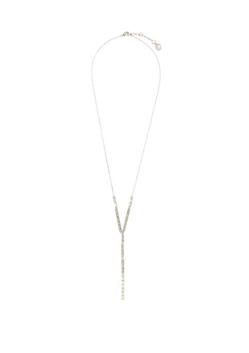 26 Inch Silver Tone Linear Baguette Y Necklace