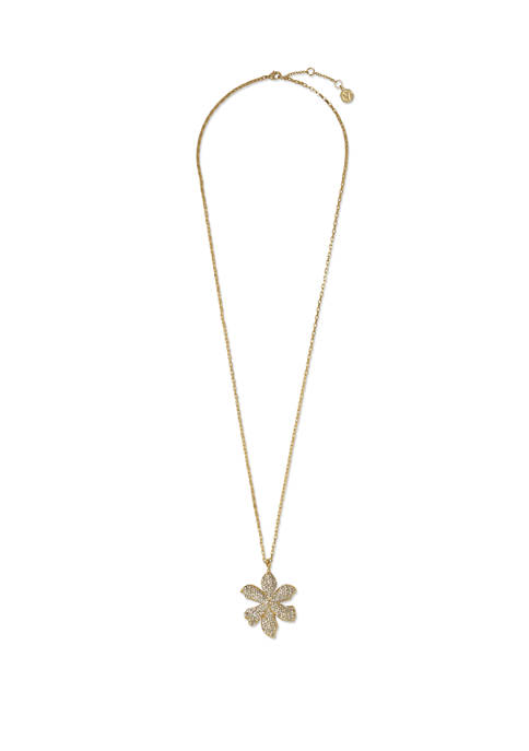 Pavé Crystal Long Flower Statement Pendant Necklace