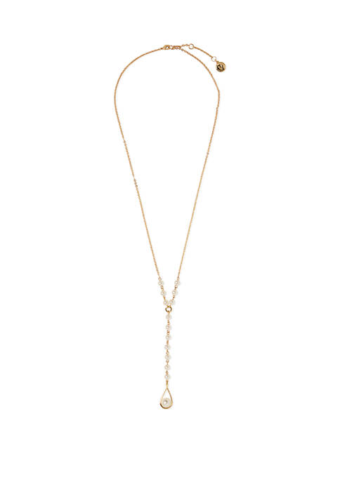 24 Inch Gold Tone Faux Pearl Y Necklace
