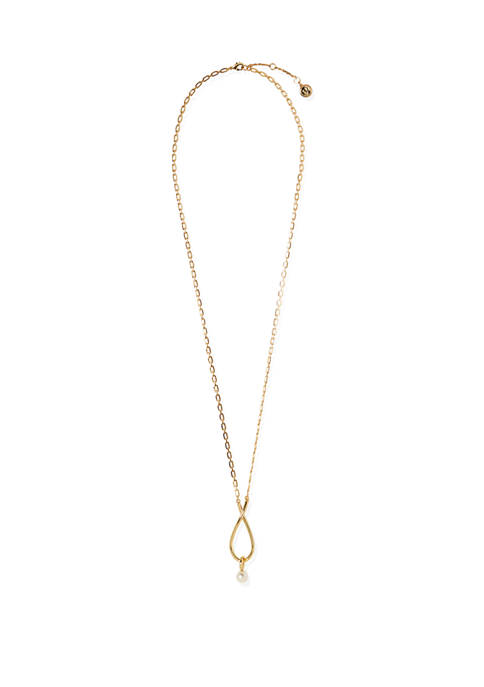 30 Inch Gold Tone Faux Pearl Pendant Necklace