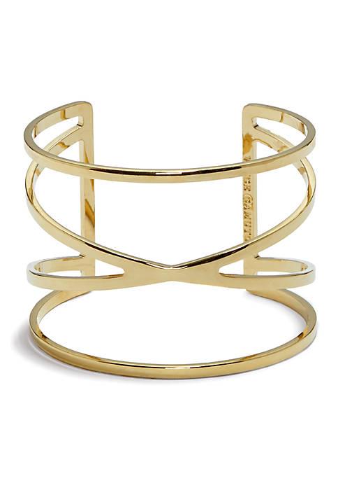 Gold-Tone Metal Core Cuff Bracelet