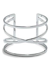 Silver-Tone Metal Core Cuff Bracelet