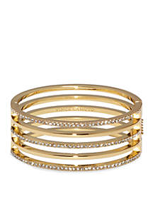 Gold-Tone Pave Core Clear Pave Crystal Alternating Line Hinge Bangle