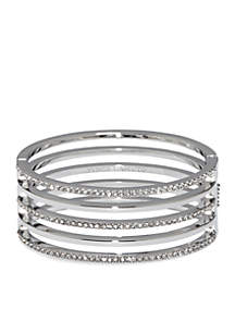 Silver-Tone Pave Core Clear Pave Crystal Alternating Line Hinge Bangle