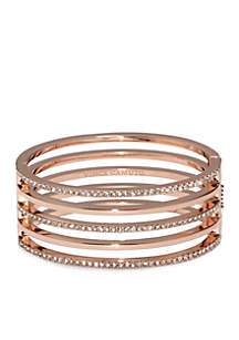 Rose Gold-Tone Pave Core Clear Pave Crystal Alternating Line Hinge Bangle