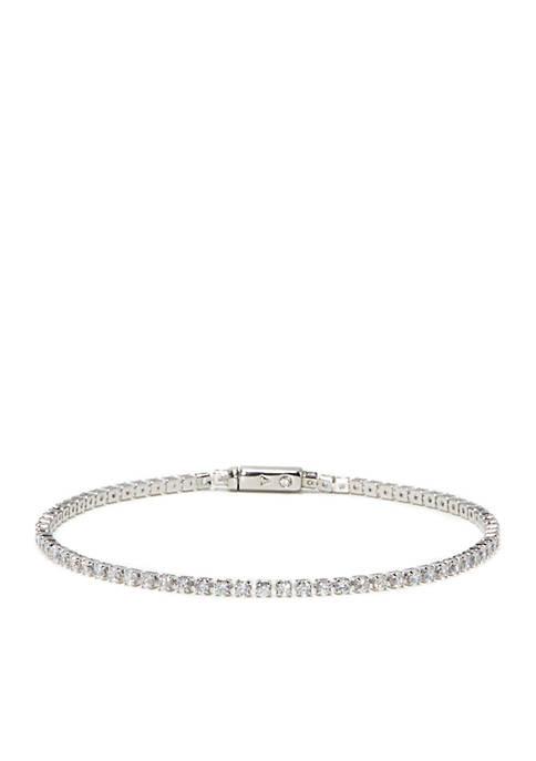 Silver-Tone Cubic Zirconia Cup Chain Tennis Bracelet