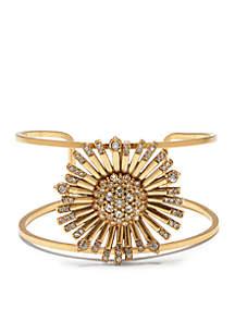 Danish Garden Vintage Gold-Tone Crystal Flower Cuff