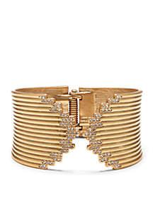 Danish Garden Vintage Gold-Tone Crystal Spring Hinge Bracelet